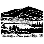 """Mountain View - Crafter's Workshop Template 6""""X6"""""""