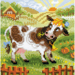 """8""""X8"""" 10 Count - The Farm Little Cow Counted Cross Stitch Kit"""