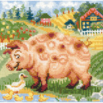"""8""""X8"""" 10 Count - The Farm Piglet Counted Cross Stitch Kit"""