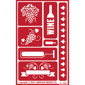 "Wine Time - Over 'N' Over Reusable Stencils 5""X8"""