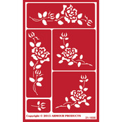 "Roses - Over 'N' Over Reusable Stencils 5""X8"""