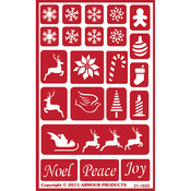 "Holiday Baubles - Over 'N' Over Reusable Stencils 5""X8"""