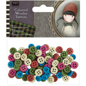 Colored - Santoro Gorjuss Tweed Wooden Buttons 100/Pkg