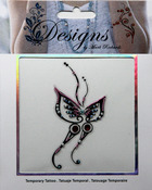 Pink & Black Butterfly Jeweled Temporary Tattoo - Mark Richards