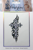 Black & White Cross Jeweled Temporary Tattoo - Mark Richards