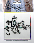 Multi Colored Love Jeweled Temporary Tattoo - Mark Richards