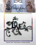 Multi Colored Love Jeweled Temporary Tattoo - Mark Richards