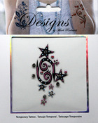 Pink & Black Stars Jeweled Temporary Tattoo - Mark Richards