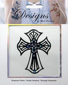 Large Cross Jeweled Temporary Tattoo - Mark Richards