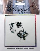 Black & White Flowers Jeweled Temporary Tattoo - Mark Richards