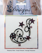 Pink & Black Large Stars Jeweled Temporary Tattoo - Mark Richards