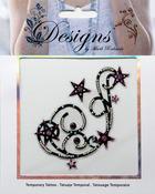 Pink & Black Large Stars Jeweled Temporary Tattoo - Mark Richards