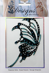 Large Teal & Black Butterfly Jeweled Temporary Tattoo - Mark Richards