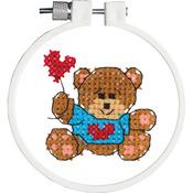 "Kid Stitch Bear & Balloon Stamped Cross Stitch Kit - 3"" Round"