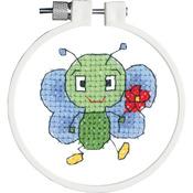 "Kid Stitch Bug & Flower Stamped Cross Stitch Kit - 3"" Round"