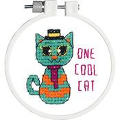 "Kid Stitch One Cool Cat Stamped Cross Stitch Kit - 3"" Round"