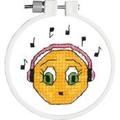 "Kid Stitch Singing Along Stamped Cross Stitch Kit - 3"" Round"