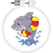"Kid Stitch Dolphin Splash Stamped Cross Stitch Kit - 3"" Round"
