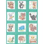 """Forest Friends - Stamped White Nursery Quilt Blocks 9""""X9"""" 12/Pkg"""