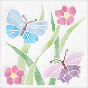 """XX Butterflies - Stamped White Quilt Blocks 18""""X18"""" 6/Pkg"""