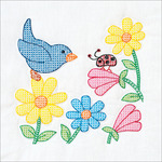 "Bird And Flowers - Stamped White Themed Quilt Blocks 14""X14"" 6/Pkg"