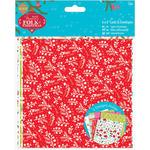 "Linen Finish - Papermania Folk Christmas Cards/Envelopes 6""X6"" 12/Pkg"