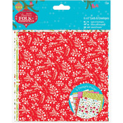 "Linen Finish - Papermania Folk Christmas Cards/Envelopes 6""X6"" 12/Pkg"