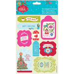 Linen Finish - Papermania Folk Christmas Die-Cut Toppers/Sentiments 2/Pkg