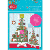A5 Advent Framed, Linen Finish - Papermania Folk Christmas Decoupage Card Kit