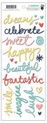 Happy Place Script Words Puffy Stickers - Fancy Pants
