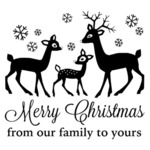 "Merry Christmas From Our Family To Yours - Gourmet Rubber Stamps Cling Stamps 6.5""x3.25"""