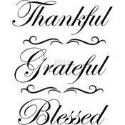 "Thankful Grateful Blessed - Riley & Company Funny Bones Cling Stamp 1.5""X2.5"""