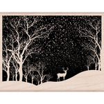 "Snowy Scene - Hero Arts Mounted Rubber Stamp 4.25""X3.25"""