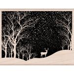 "Snowy Scene - Hero Arts Mounted Rubber Stamp 4.25""X3.25"""