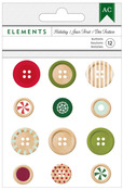 Holiday Elements Wooden Buttons - American Crafts