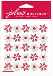 Red & White Repeat Snowflake Glitter Dimensional Stickers - Jolees Christmas