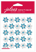 Blue & White Repeat Snowflake Glitter Dimensional Stickers - Jolees Christmas