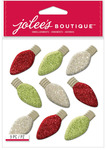 Christmas Bulbs Glitter Repeat Stickers - Jolees Christmas