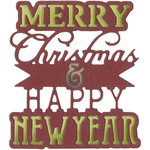 Merry Christmas & Happy New Year Phrase - Sizzix Thinlits Die