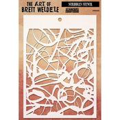 "Scribbles - Brett Weldele Stencil Collection 6.5""X4.5"""