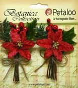 Red Pine Poinsettia Pick - Petaloo