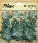 Antique Blue Mini Burlap Flowers - Petaloo