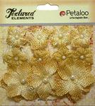 Antique Gold Mini Burlap Flowers - Petaloo