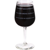 Don't Give A Stitch - Stitch Happy Wine Glass In Box 12oz