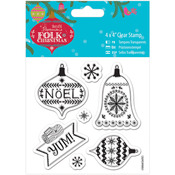 """Yum - Papermania Folk Christmas Clear Stamps 4""""X4"""""""