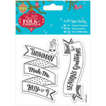 "Snowman - Papermania Folk Christmas Clear Stamps 4""X4"""