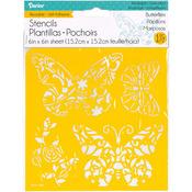 "Butterflies - Reusable Self Adhesive Stencil 6""X6"""