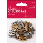 Gold & Silver - Papermania Create Christmas Mini Pegs 36/Pkg