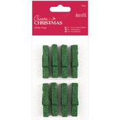 Green - Papermania Create Christmas Glitter Pegs 8/Pkg