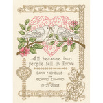 """7.25""""X10"""" 14 Count - All Because Wedding Record Counted Cross Stitch Kit"""